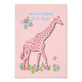 "Cute Whimsy Giraffe Baby Shower - Birthday Design 3.5"" X 5"" Invitation Card"