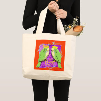 Cute  Whimsy Green Budgies Tweet Fun Large Tote Bag