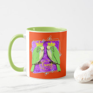 Cute  Whimsy Green Budgies Tweet Fun Mug
