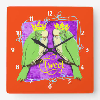 Cute  Whimsy Green Budgies Tweet Fun Square Wall Clock