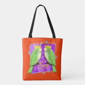 Cute  Whimsy Green Budgies Tweet Fun Tote Bag