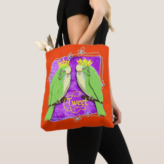 Cute  Whimsy Green Budgies Tweet Fun Tote Bag