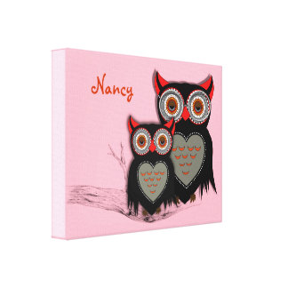Cute Whimsy Mother And Baby Owls Personalized Canvas Print