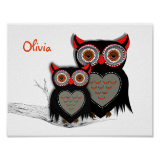 Cute Whimsy Mother And Baby Owls Personalized Poster