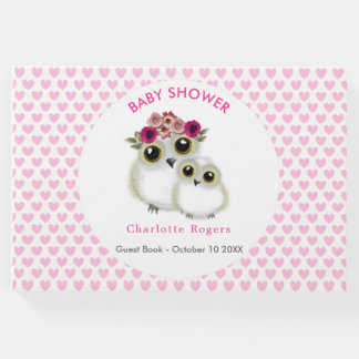 Cute Whimsy Owls On Pink Love Hearts Personalized Guest Book