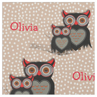 Cute Whimsy Owls On Polka Dot Personalized Fabric