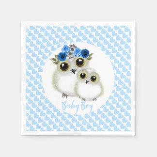 Cute Whimsy Snowy Owls On  Blue Love Hearts Napkin
