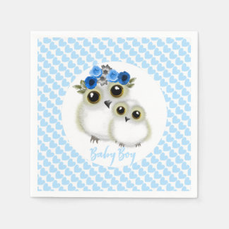 Cute Whimsy Snowy Owls On  Blue Love Hearts Paper Napkins