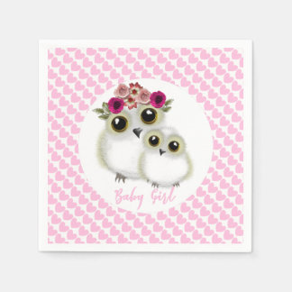 Cute Whimsy Snowy Owls On Pink Love Hearts Disposable Napkin