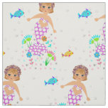 Cute Whimsy Swimming Mermaid And Fishes Themed Fabric