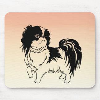Cute White and Black Dog on Orange Mousepad