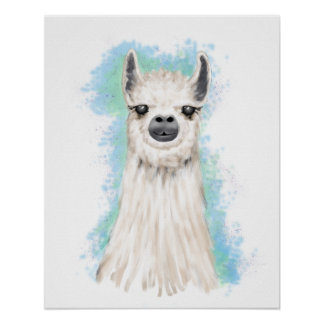 Cute White and Brown Alpaca Poster
