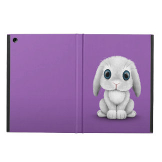 Cute White Baby Bunny Rabbit on Purple iPad Air Covers