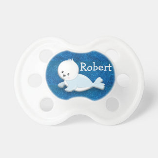 Cute White Baby Seal on Blue Glitter Personalized Pacifier