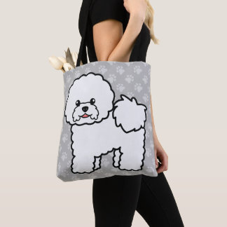 Cute White Bichon Frise Cartoon Dog On Gray Tote Bag