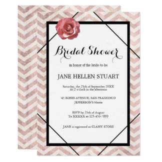 Cute white black dusty rose chevron bridal shower card