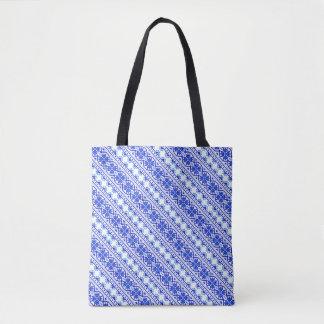 Cute white blue decorative ukrainian stripes tote bag