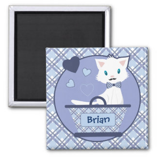 Cute white boy kitten in basket with hearts square magnet