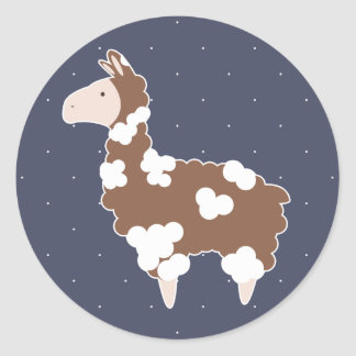 Cute White & Brown Spotted Llama Round Sticker
