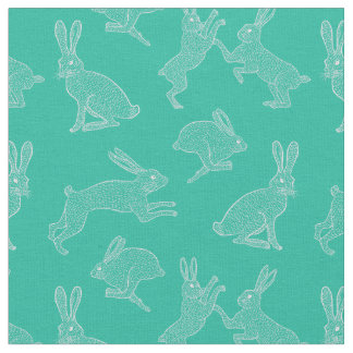 Cute White Bunnies on Green Background Fabric