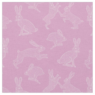 Cute White Bunnies on Pink Background Fabric