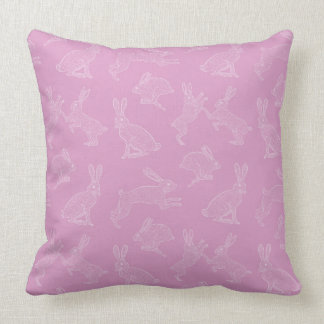 Cute White Bunnies on Pink or Green Pillow