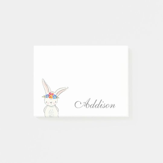 Cute White Bunny Flower Crown Post-it® Notes