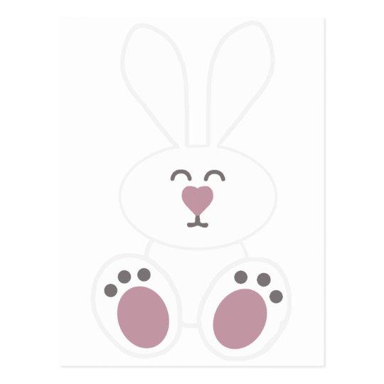 Cute White Bunny Rabbit Postcard