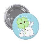 Cute white bunny with kawaii clover pins