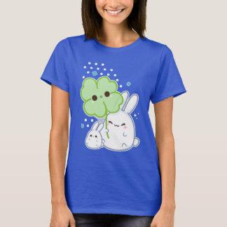 Cute white bunny with kawaii clover T-Shirt