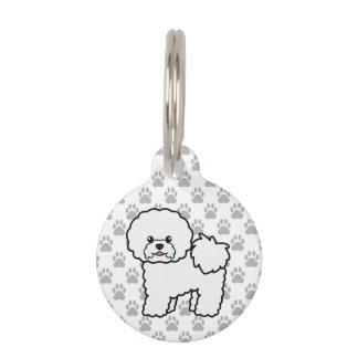 Cute White Cartoon Bichon Frise Dog And Pet's Info Pet ID Tag