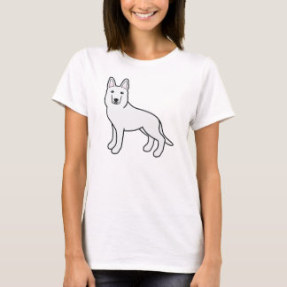Cute White Cartoon German Shepherd Dog T-Shirt