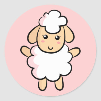 Cute White Cartoon Sheep with Pink Shading Classic Round Sticker