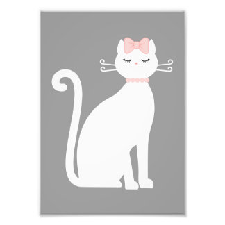 Cute White Cat Photo Print