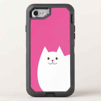 Cute White Cat with a Bright Pink Nose OtterBox Defender iPhone 8/7 Case