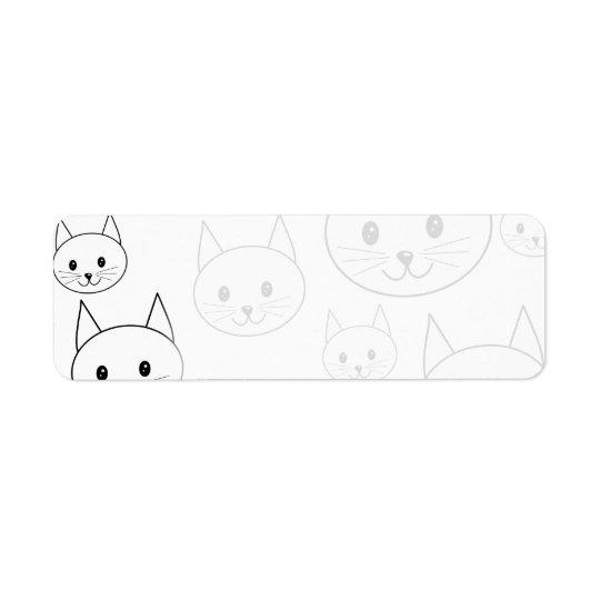 Cute White Cats Pattern. Return Address Label