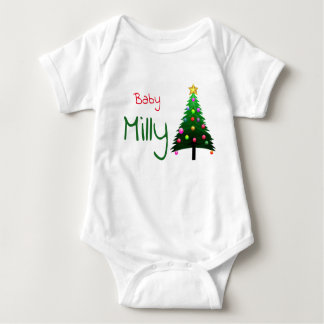 "Cute white ""Christmas tree"" personalised Baby Bodysuit"