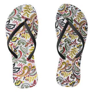 Cute white classic colorful floral design flip flops