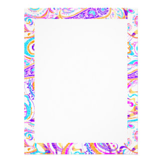 Cute white colorful paisley design customized letterhead