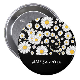 Cute White Daisies on Black Background Pinback Buttons