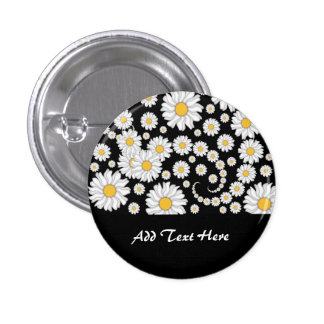 Cute White Daisies on Black Background Button