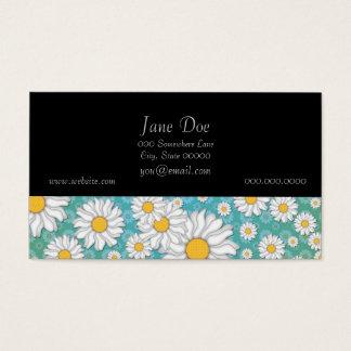 Cute White Daisies on Blue Green Business Card