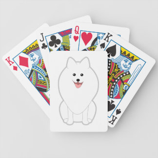 Cute White Dog. Spitz or Pomeranian. Bicycle Playing Cards