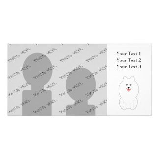 Cute White Dog. Spitz or Pomeranian. Photo Card Template