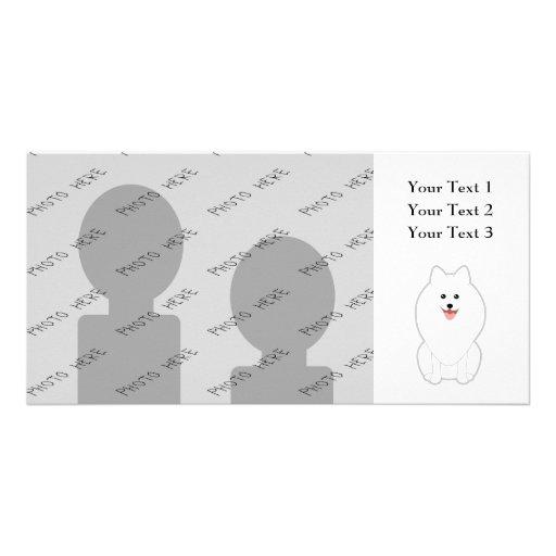 Cute White Dog. Spitz or Pomeranian. Photo Card Template