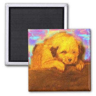 cute white dog square magnet