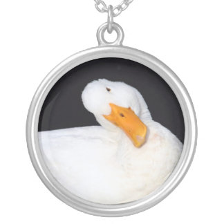 Cute white duck on black silver plated necklace