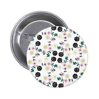 Cute white floral 2 inch round button