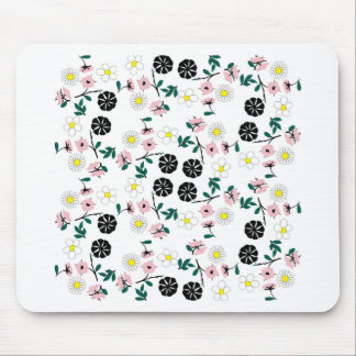 Cute white floral mouse pad