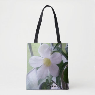 Cute White Flower Print Personalized Tote